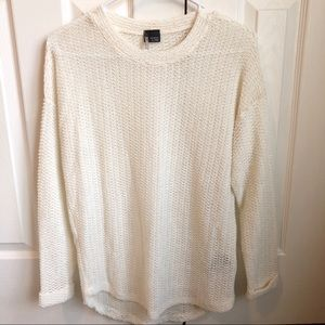 [UO Sparkle&Fade]White Pullover Open Knit Sweater